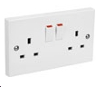 White Switched Twin Electric Electrical Double Socket