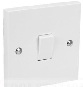 1 Gang 2 Way 10 A Flush Plate Switch White BS3676