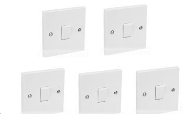 5 x 1 Gang 2 Way 10 A Flush Plate Switch White BS3676