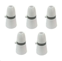 5 x White Plastic Switched Lamp / Light Bulb Holder