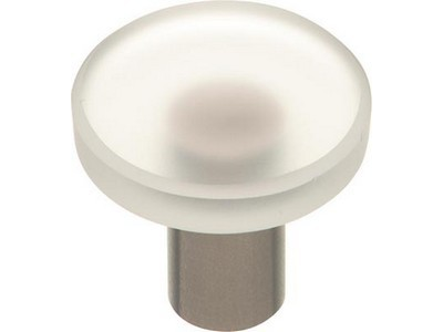 Stainless Steel Finish Frosted Glass Round Knob